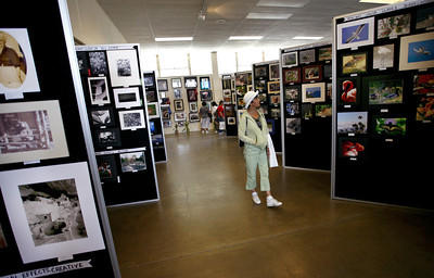 Julie Casillas from Simi Valley, admires the photography exhibit on display at the Ventura County Fair in Ventura CA. August 4, 2007.  Casillas rode the train from Simi Valley to Ventura in order to avoid the hastle of driving. (Ernesto Elizarraraz, Special to the Daily News)