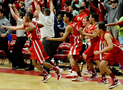 Village Christian team cheer and rush the court as they take win 58-57 over Renaissance Academy for the CIF championship in Southern California Div. V boys' basketball regional finals. Ontario CA. March 17.2012. Photo by Gene Blevins/LA DailyNews
