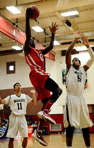 Village Christian #10 Marquis Salmon goes for a layup shot as they take win 58-57 over Renaissance Academy for the CIF championship in Southern California Div. V boys' basketball regional finals. Ontario CA. March 17.2012. Photo by Gene Blevins/LA DailyNews
