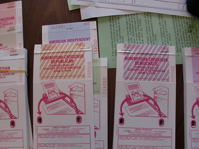 Due to election rules that allow those registered as nonpartisan to vote in either the Democratic or Republican primaries, there were nine different ballots available for use in the residential garage that serves as a polling place on the corner of Hatteras Street and Tyrone Avenue in Sherman Oaks on Tuesday, June 8, 2010. The nine ballots are Democratic, Republican, Libertarian, Peace and Freedom, American Independent, Green, Nonpartisan, Nonpartisan-Crossover Democratic and Nonpartisan-Crossover Republican. (Steven Rosenberg/Daily News)