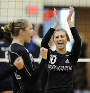 Valencia's Carly Carapella reacts during their match against West Ranch at West Ranch High School in Stevenson Ranch, CA Thursday, November 4, 2010. (Hans Gutknecht/Staff Photographer)