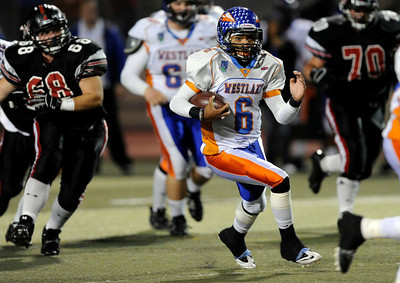 Westlake quarterback Justin Moore (6) runs up field during their playoff game against Hart at College of the Canyons in Santa Clarita Friday, November 25, 2011. (Hans Gutknecht/Staff Photographer)
