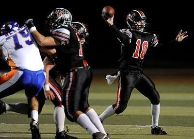 Hart's Connor Wingenroth (10) looks to pass during their playoff game against Westlake at College of the Canyons in Santa Clarita Friday, November 25, 2011. (Hans Gutknecht/Staff Photographer)