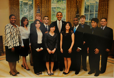 The 2010 ACADECA team from El Camino Real is seen in the Oval Office with President Obama. el Camino Real is among the elite competitors in the Academic Decathlon, having won numerous state and national titles. Now the program is in jeopardy due to budget cuts within the LAUSD. Copy photo.