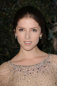 Actress Anna Kendrick wears Norman Silverman 18K white gold pear-shape diamond earrings at Vanities anniversary party at Siren Studios in Hollywood on Feb. 20, 2012.