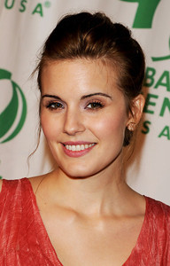 Actress Maggie Grace wears Tresor 18K rose gold Logo Collection stud earrings and a Tresor 18K rose gold Morganite ring to the Global Green USA's pre-Oscar party at Avalon in Hollywood on Feb. 22, 2012.