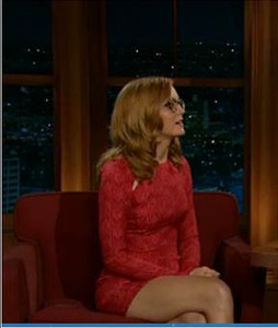 """Actress Jayma Mays wears Bec & Bridge's Amazonia crimson printed long-sleeved mini for her appearance on """"Late Late Show with Craig Ferguson"""" on Feb. 20, 2012."""