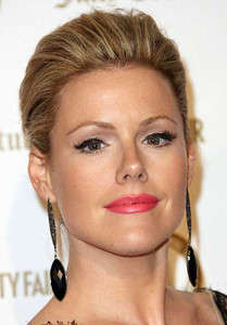 Actress Kathleen Robertson wears Vanessa Leu 18K black gold earrings with black onyx and black pave diamonds at Vanities anniversary party at Siren Studios in Hollywood on Feb. 20, 2012.