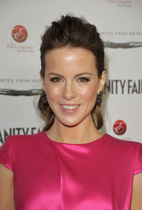Actress Kate Beckinsale wears M.C.L By Matthew Campbell Laurenza pave drop earrings at an Eva Longoria Foundation event at Beso Hollywood on Feb. 23, 2012.