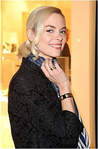 Actress Jamie King wears a ring, earrings and bracelet from Frey Wille's Hommage to Gustave Klimt Collection in the Adele Bloch-Bauer design and a Frey Wille Magic Sphinx Collection ring in ivory at the gala opening of the Frey Wille Rodeo Drive store on Feb. 23, 2012.