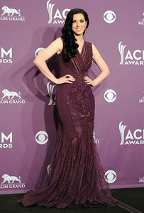 Singer Shawna Thompson wears Amrapali smoky quartz and diamond drop earrings and a Vanessa Leu Marquise cocktail ring with smoky quartz and pave diamonds at the Academy of Country Music Awards at the MGM Grand in Las Vegas on April 1, 2012.