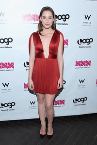 Actress Christa B. Allen wears a Maria Lucia Hohan Celine silk tulle dress in red to the NewNowNext Awards at Avalon in Hollywood on April 5, 2012.