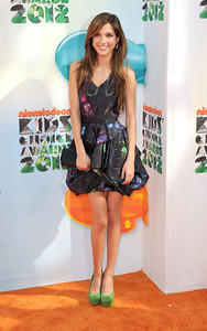 Actress Kelsey Chow wears M.C.L by Matthew Campbell Laurenza jewelry including Dew Gem earrings and a Deco City Block ring to the Nickelodeon Kids' Choice Awards at USC's Galen Center on March 31, 2012.