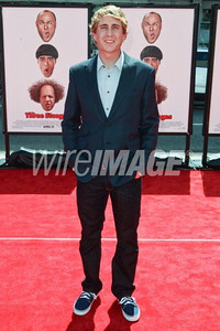 """Actor Kirby Heyborne wears an Anthony Franco shirt and jacket to the premiere of his movie """"The Three Stooges"""" at Grauman's Chinese Theatre on April 7, 2012."""