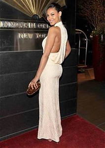 Ariel Meredith wears a Rachel Roy iced peach silk wave print gown to the New Yorkers for Children Spring Gala on April 10, 2012.