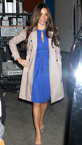 """Actress Sofia Vergara wears a sapphire key hole crepe dress from Rachel Roy's Fall 2012 Dress Salon for an appearance on """"Live with Kelly"""" on April 9, 2012."""