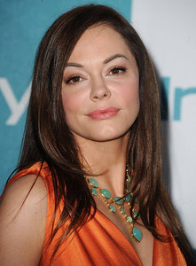 Actress Rose McGowan wears an Adeler 14K yellow gold and aqua chalcedony necklace to the InStyle Summer Soiree at the London Hotel in West Hollywood on Aug. 10, 2011.