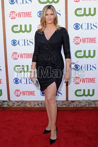 Actress Natasha Henstridge wears David Meister's silver studded black jersey cocktail dress with tulip skirt to the TCA Party for CBS, The CW and Showtime at The Pagoda in Beverly Hills on Aug. 3, 2011.
