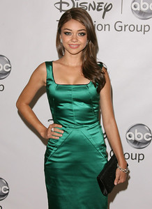 """Sarah Hyland wears Diamond in the Rough jewelry including """"Champagne Bubbles"""" rough diamond cluster earrings, """"Astra"""" rough diamond bangles and an """"Iceberg"""" ring to Disney ABC Television Group's TCA 2011 summer press tour at the Beverly Hilton Hotel on Aug. 7, 2011."""