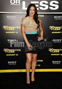 """Actress Alexa Vega wears a jet black Nirvana ring and carries a black Midnight clutch from Swarovski at the premiere of """"30 Minutes or Less"""" on Aug. 8, 2011."""