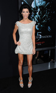 """Actress Jacqueline Macinnes-Wood wears a Tony Ward silver eyelet dress to the premiere of her film """"Final Destination 5"""", at Grauman's Chinese Theatre on Aug. 10, 2011."""