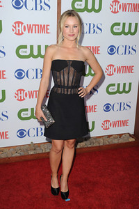 Actress Kristen Bell wears Amrapali rose cut diamond earrings to the CBS, CW and Showtime TCA Party at The Pagoda in Beverly Hills on Aug. 3, 2011.