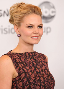 Actress Jennifer Morrison wears M.C.L. by Matthew Campbell Laurenza large pave full ball stud earrings to Disney ABC Television Group's summer press tour at the Beverly Hilton Hotel on Aug. 7, 2011.