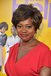 """Actress Viola Davis wears Brumani Flamboyant Collection 18K gold earrings with orange moonstone and diamonds to the premiere of her film """"The Help"""" at the Academy of Motion Picture Arts and Sciences' Samuel Goldwyn Theater on Aug. 9, 2011."""