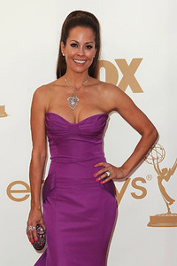 Brooke Burke wears a Sethi Couture 18K white gold pendant with vintage rose-cut and old-mine cut diamonds and black rhodium accents, Sethi Couture 18K white gold and rose cut diamond earrings with black rhodium accents and a one-of-a-kind Diamond in the Rough Solitaire ring with a rough diamond in 18K white gold with micro pave diamond accents to the Primetime Emmy Awards at the Nokia Theatre on Sept. 18, 2011.