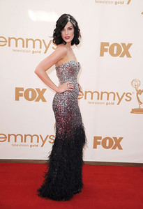 Actress Jessica Pare wears an Arunashi blue moonstone and black diamond Mushroom ring to the Primetime Emmy Awards at the Nokia Theatre on Sept. 18, 2011.