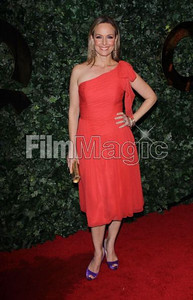 Actress Melora Hardin wears a tangerine silk chiffon one-shoulder cocktail dress from the David Meister Signature Collection to the QVC Red Carpet Style Party at the Four Seasons Hotel on Feb. 25, 2011.