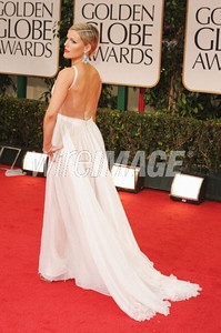 Actress Kathleen Robertson wears a Maria Lucia Hohan gown to the Golden Globe Awards in Beverly Hills on Jan. 15, 2012.