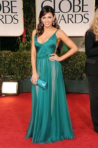 Actress Jenna Dewan-Tatum wears an emerald Maria Lucia Hohan gown to the Golden Globe Awards in Beverly Hills on Jan. 15, 2012.