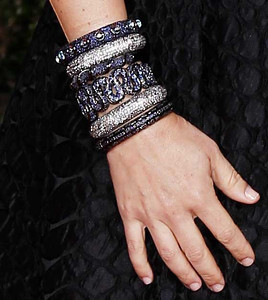 Actress Maya Rudolph wears M.C.L by Matthew Campbell Laurenza assorted pave sapphire bangles at the Golden Globe Awards in Beverly Hills on Jan. 15, 2012.