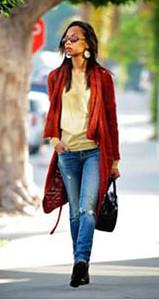 Actress Zoe Saldana wears in Cult of Individuality denim in Los Angeles on Jan. 19, 2012.