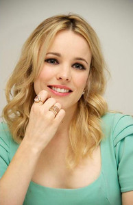 """Actress Rachel McAdams wears a Tresor Dazzle Collection 18K rose gold morganite and diamond ring and Le Vian 14K gold diamond stackable rings at a press conference for """"The Vow"""" in Beverly Hills on Jan. 26, 2012."""