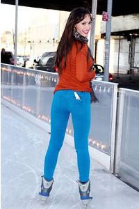Karina Smirnoff wears bright blue DL1961 Emma skinny legging jeans skating in New York City on Jan. 20. 2012.