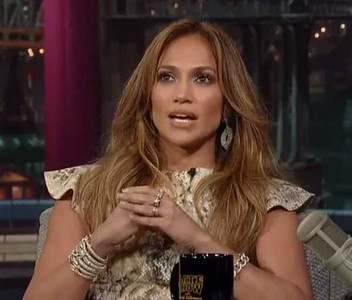 """Jennifer Lopez wears Le Vian 14K white gold, chocolate and vanilla diamond earrings, a Diamond in the Rough solitare ring in 18K white gold with micro pave diamond accents and an assortment of  Vahan sterling silver, 14K gold and diamond stackable bracelets for an appearance on the """"Late Show with David Letterman"""" on Jan. 30, 2012."""