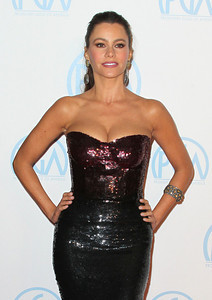 Actress Sofia Vergara wears Amrapali 14K gold diamond earrings and an Amrapali 14K gold and silver cuff with citrine to the Producers Guild Awards at the Beverly Hilton Hotel on Jan. 21, 2012.