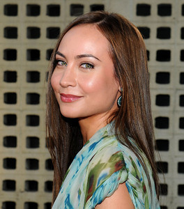 """New cast member Courtney Ford wears M.C.L. by Matthew Campbell Laurenza sapphire earrings to the premiere of """"True Blood"""" Season 4 at ArcLight Cinemas Cinerama Dome on June 21, 2011."""