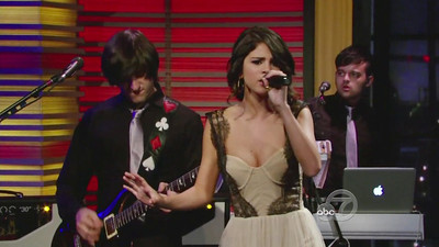 """Singer Selena Gomez wears a ballerina dress in nude tulle with lace by Maria Lucia Hohan for her performance on """"Live! With Regis and Kelly"""" on June 28, 2011."""