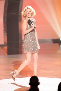 """Host Cat Deeley wears an espresso crystal encrusted cocktail dress by Jenny Packham on the June 29, 2011, episode of """"So You Think You Can Dance."""""""