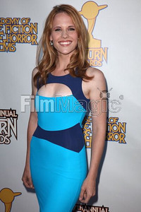Actress Katie Leclerc wears Swarovski's blue crystal Hyancith earrings at the 37th annual Saturn Awards at The Castaway in Burbank on June 23, 2011.