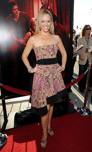 """Cast member Lauren Bowles wears M.C.L. by Matthew Campbell Laurenza assorted pave bangles to the premiere of """"True Blood"""" Season 4 at ArcLight Cinemas Cinerama Dome on June 21, 2011."""
