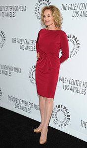 Actress Jessica Lange wears David Meister's deep red gathered-waist stretch jersey dress at Paleyfest 2012 on March 2.