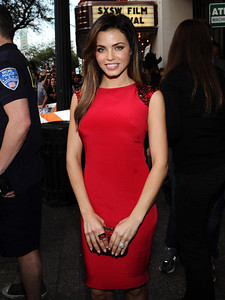 """Actress Jenna Dewan-Tatum wearing a Baccarat So Insomnight Collection red mordore ring to the premiere of her husband, Channing Tatum's, movie """"21 Jump Street"""" at SXSW in Austin, Texas, on March 12, 2012."""