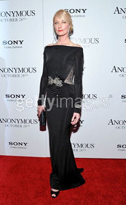 """Actress Joely Richardson wears a black, long-sleeve gown with sheer back from Zuhair Murad's Spring 2011 RTW Collection to the premiere of her film """"Anonymous"""" in New York on Oct. 20, 2011."""