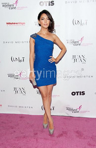Actress Nazanin Boniadi wears a blue textured one-shoulder cocktail dress by David Meister to the Designs for the Cure gala at the Bel-Air Bay Club in Pacific Palisades on Oct. 28, 2011.