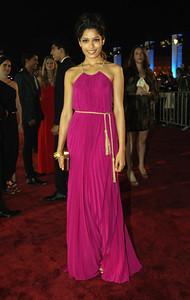 Actress Freida Pinto wears Amrapali 18K gold diamond bangles to the Doha Tribeca Film Festival in Qatar on Oct. 25, 2011.