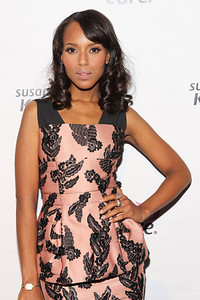 Actress Kerry Washington wearing Le Vian 14K strawberry gold, vanilla and chocolate diamond hoop earrings and a Le Vian 14K strawberry gold, vanilla and black diamond ring to the Susan G. Komen for the Cure's Honoring the Promise Benefit at the John F. Kennedy Center for the Performing Arts in Washington, D.C., on Oct. 28, 2011.